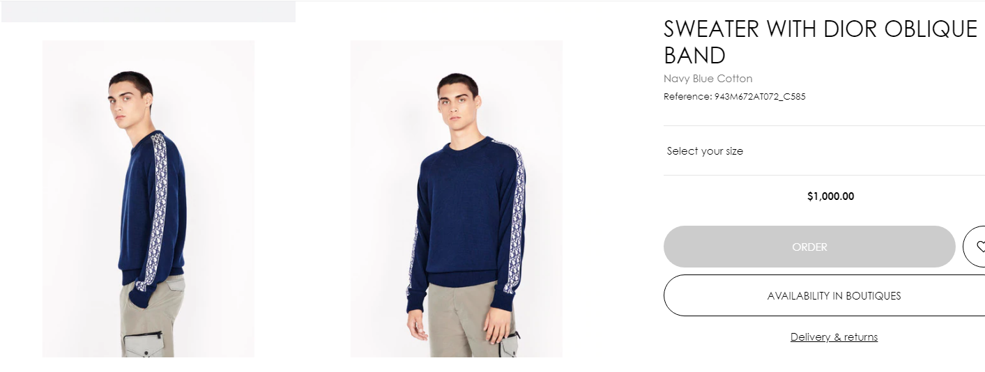 sweater with dior oblique band navy blue Cotton  2