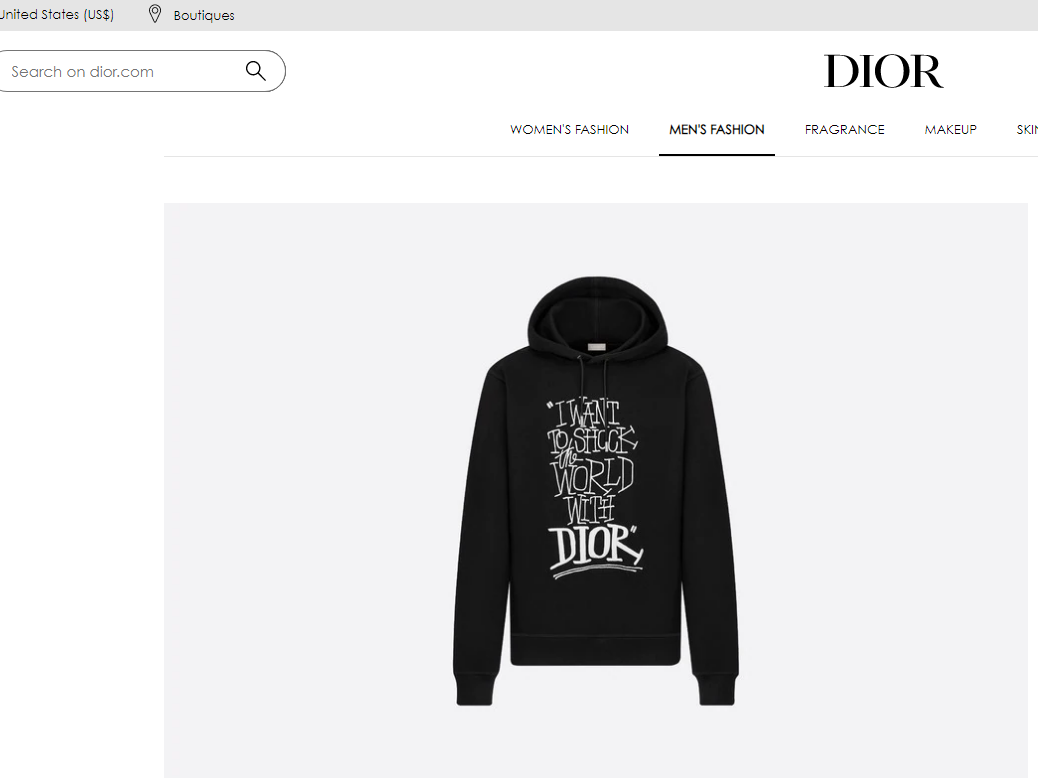 DIOR AND SHAWN OVERSIZED HOODED SWEATSHIRT Black Cotton Fleece 2