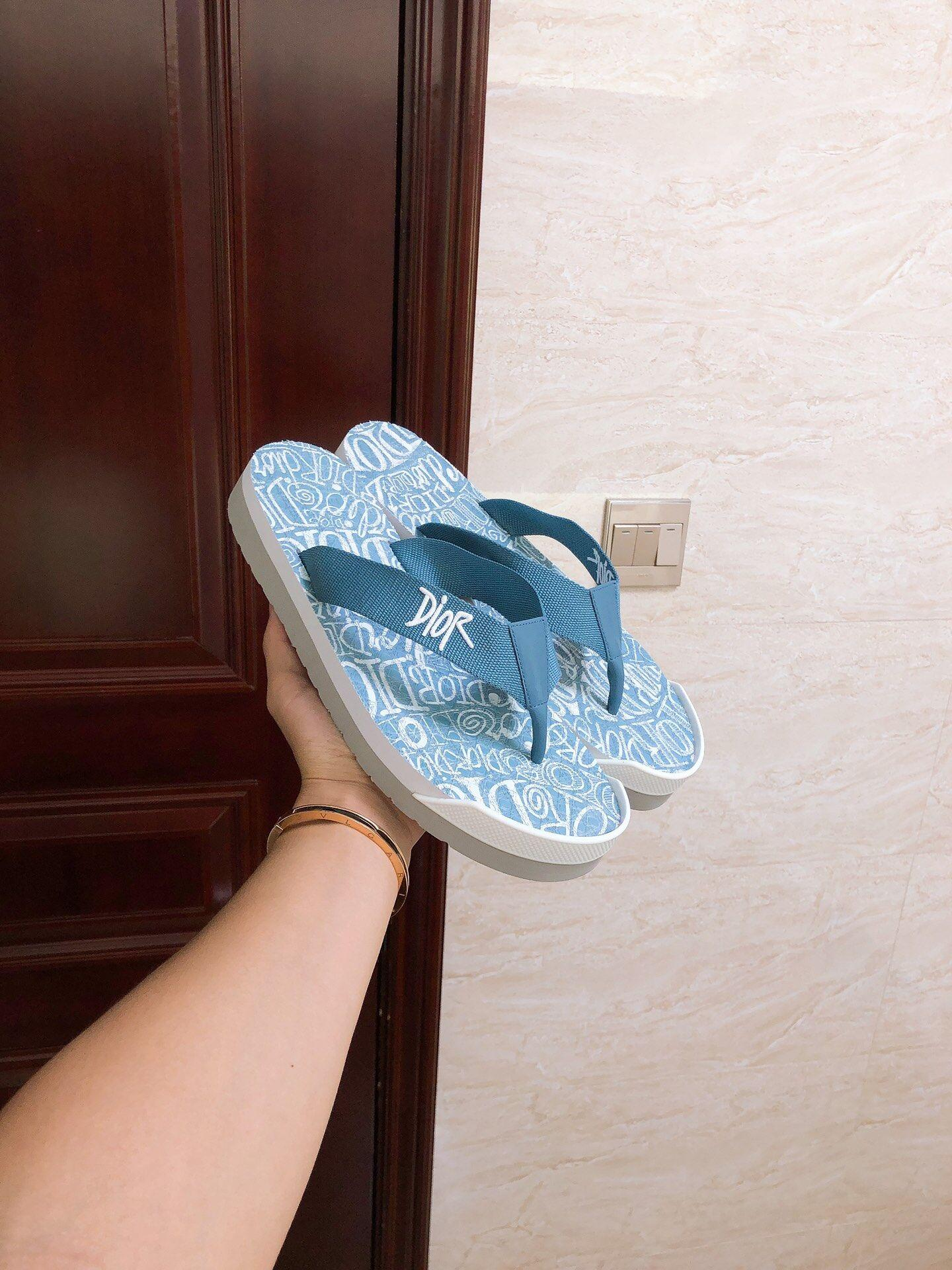 FLIP-FLOPS Blue Nylon with DIOR AND SHAWN Embroidery 1
