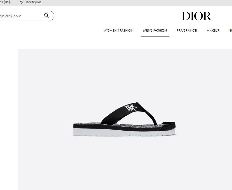 Dior FLIP-FLOPS Black Nylon with DIOR AND SHAWN Embroidery dior slide sandal 2