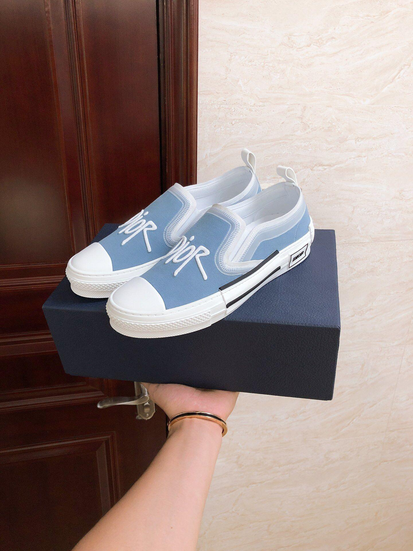 B23 SLIP-ON SNEAKER Blue Canvas with DIOR AND SHAWN Signature dior sneaker dior  9