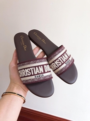 Dior DWAY SLIDE Amaranth Embroidered Cotton dior slide