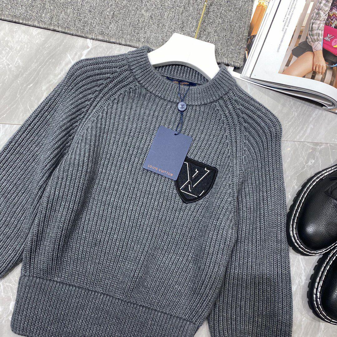 Newest    patch wool knit sweater    sweater 1A839G Grey  12