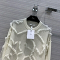DIOR STRETCH SWEATER White Camouflage Cashmere with Fringe Detailing