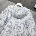 Dior HOODED ANORAK White Cotton with Blue 'Dior Around The World' Motif