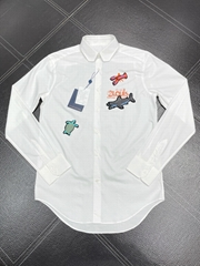 REGULAR SHIRT WITH BEADS PATCHES LV SHIRT