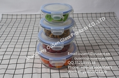 round glass airtight food container with PP lid with silicone sealing strip