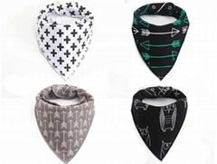 Hot selling fashion printing cotton baby bandana drool bibs