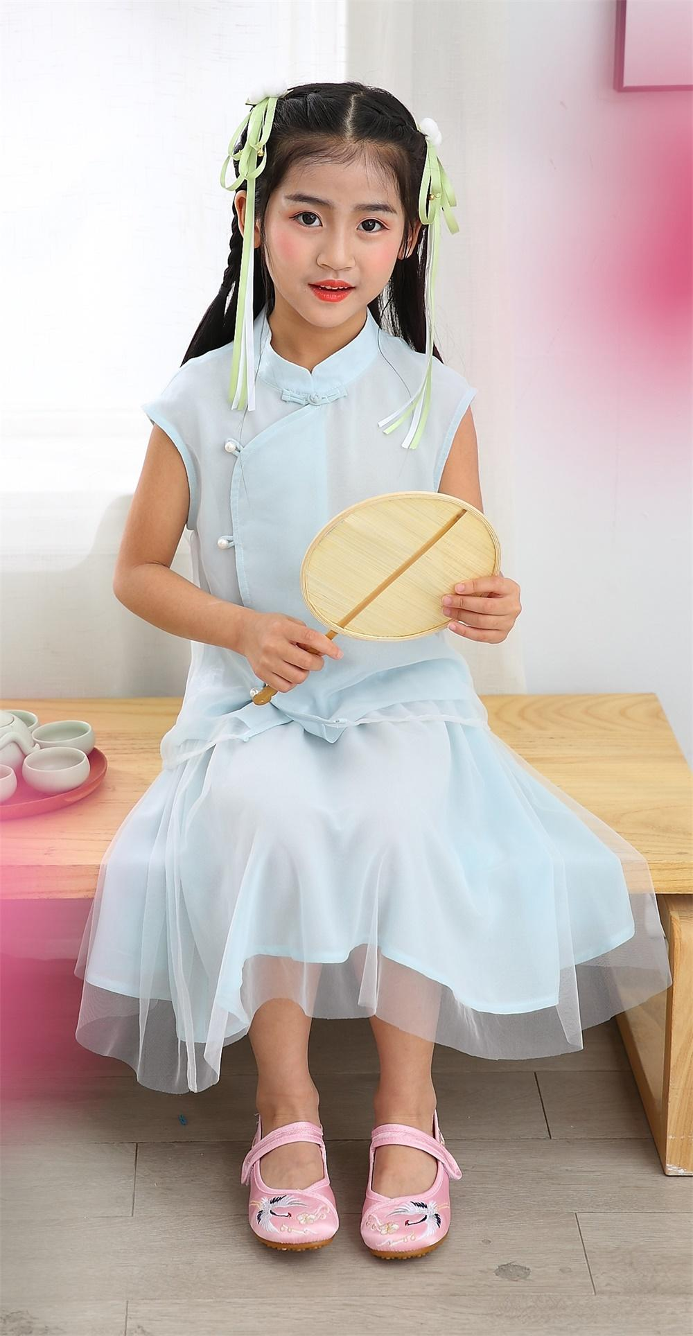 Girl summer sleeveless mandarin colar two piece sets Tang suit Chinese tradition 6