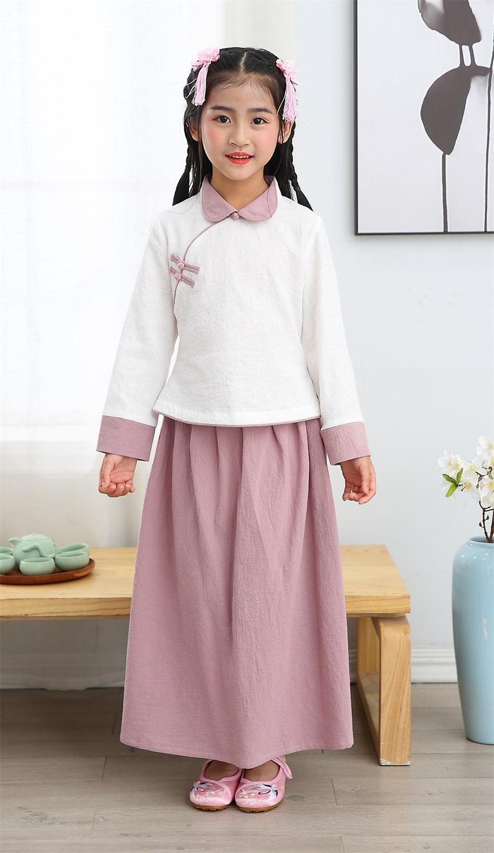 Girl summer 100% cotton long sleeve mandarin colar two piece sets Tang suit Chin 1