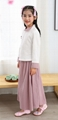 Girl summer 100% cotton long sleeve mandarin colar two piece sets Tang suit Chin 2
