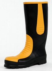 Rubber safety boots Handmade of natural rubber Protective toe cap/Perforation re