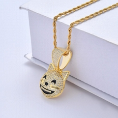 Iced out AAA+ Cubic Zirzonia Stone Cute Emoji Charm Necklace Collier Hiphop