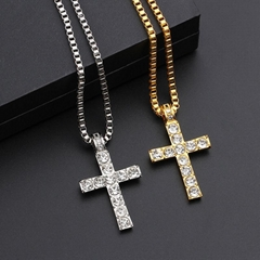 Hip Hop Alloy Gold Color Cross Pendant Necklace