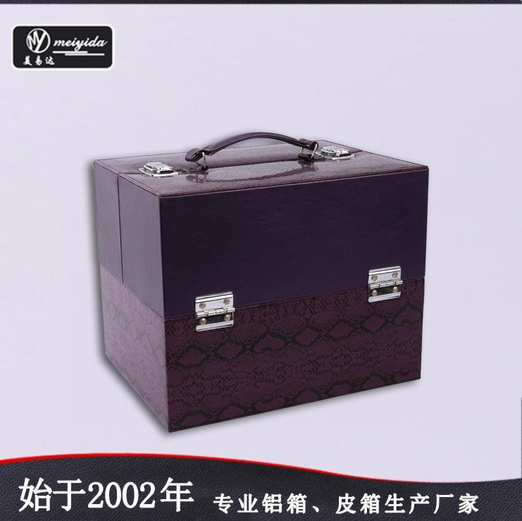 廠家定製新款珠寶手提托盤PU大容量多層首飾箱包 3