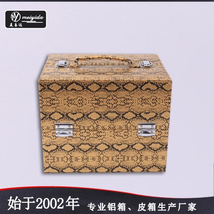 廠家定製新款珠寶手提托盤PU大容量多層首飾箱包 4