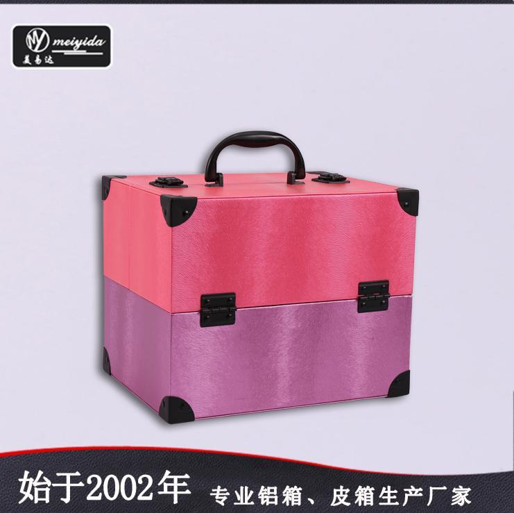 皮革手提PU化妝箱雙開盤珠寶盒大容量多層首飾盒 1