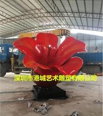 玻璃钢木棉花雕塑 仿真植物花朵雕塑落地摆件