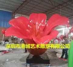 园林工程装饰玻璃钢木棉花雕塑落地摆件