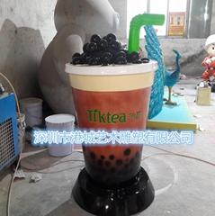 瓶子杯子造型玻璃钢奶茶杯雕塑摆件