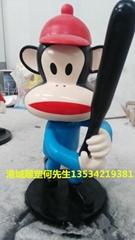 商场开业美陈卡通玻璃钢大嘴猴雕塑摆件