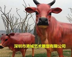 景區入口仿真動物玻璃鋼黃牛大水牛開荒牛雕塑