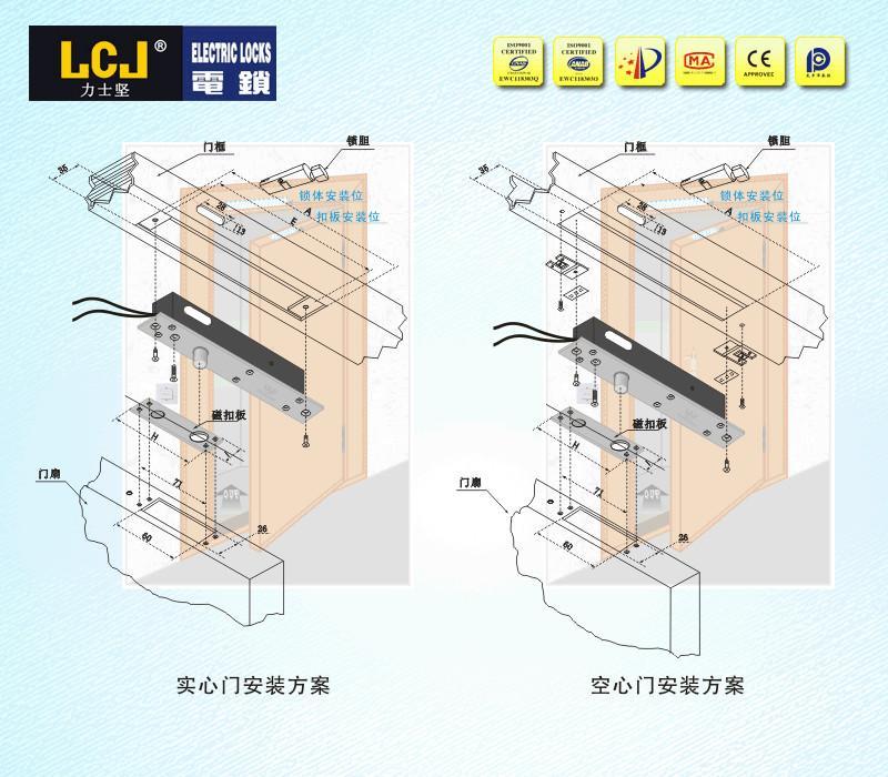 LCJ力士堅電插鎖EC-C2000-228A單門暗裝型 2