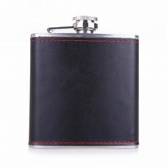 china factory 8oz leather wrap hip flask for men