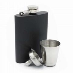 6oz matt black hip flask