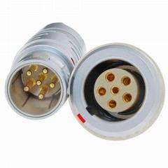 长方捷连接器 6芯塑料金属推拉自锁插头插座测试线束电源信号线