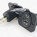 Dual USB Car Charger Socket Power Outlet Port for Car Boat Marine Rv Mobile 3