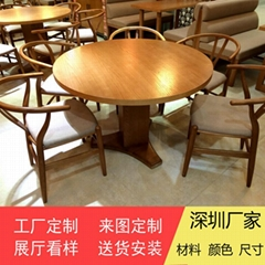 Wood Round Table in Hong Kong Restaurant