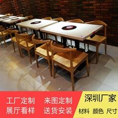 香港火锅店餐桌供应商大理石一人一锅火锅桌订做