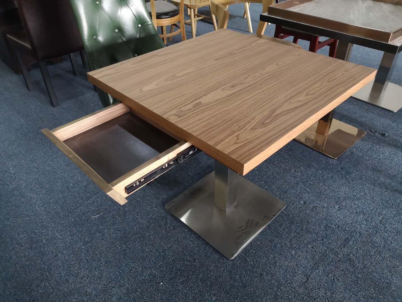 帶抽屜膠板餐桌儲物功能餐臺定做餐桌椅 1