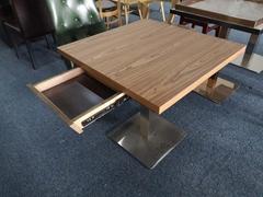 帶抽屜膠板餐桌儲物功能餐臺定做餐桌椅