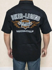 harley biker legend flame shiled short sleeve man shirts 20FM-98686