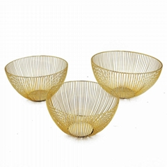 ultifunction stackable gold wire mesh woven fruit storage basket