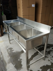 Stainless Steel Customer Designed table with 3compartments& backsplash