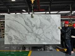 Nano Crystal Glass Stone Artificial Carrara White Marble Big Slabs