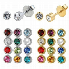 Stainless Steel Crystal Ear Piercing Birthstone Earring Piercing Jewelry