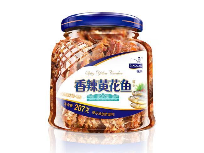 錦泉207克香辣黃花魚罐頭罐頭經濟實惠即食休閑 1