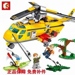 森宝积木末日救援系列丛林直升机拼插益智儿童玩具