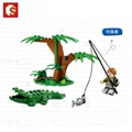 森宝积木末日救援系列丛林直升机拼插益智儿童玩具 4