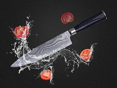 Damascus chef knife with pakkawood handle