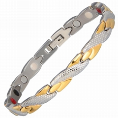 Stainless Steel Gold Plating Negative Ion Balance Bio Magnet Bracelet Chain