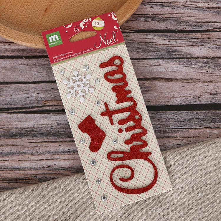 圣诞节字母数字贺卡相册diy贴纸pvc金粉贴纸 3