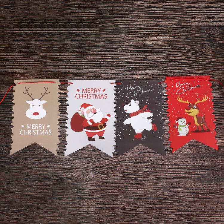 定制创意派对节假日圣诞麻绳挂三角旗纸质串旗 5