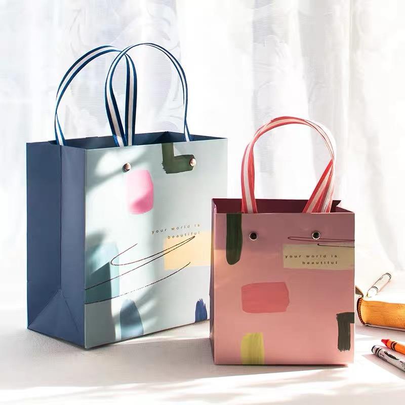 纸袋定做印logo定制礼品袋手提袋厚服装店小清新铆钉纸袋大号 1