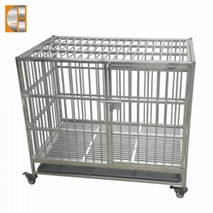 Stainless steel material pet  dog cage with plastic tray