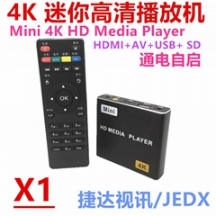 New Mini 4K HD Media Player HDMI AD player with USB/MiniSD JEDX-X1